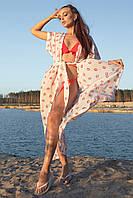 Длинная женская пляжная туника-парео (1602.4207 svt) Белый с красными губками