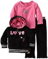 """Велюровый костюм для девочки (3 предмета) """"Young Hearts"""". Размеры:1.5 года, 2 года"""