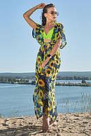 Длинная женская пляжная туника-парео (1602.4207 svt) Синий с желтым подсолнухом