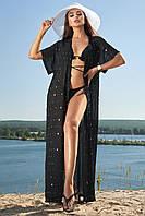 Длинная женская пляжная туника-парео (1602.4207 svt) Черный с пайетками