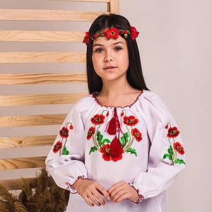 Блуза вишиванка дитяча з вишивкою гладдю Маки