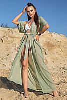 Длинная женская пляжная туника-парео (1602.4207 svt) Оливковый с люресковой нитью