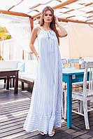 Плаття довге, в підлогу, в смужку Блакитний, фото 1