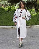 """Сукня лляна молоко вишита """"Борщівські барви"""" розміри в наявності, фото 1"""