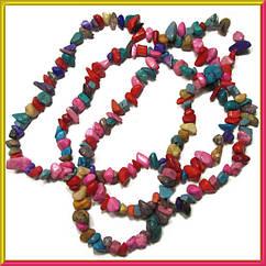 Сколы Ассорти Цветное Мелкие, Размер 4-9*2-5мм. Около 85 см нить, Бусины Натуральный Камень, Фурнитура