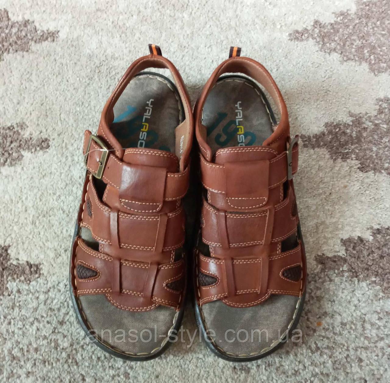 Мужские босоножки сандалии экокожа классические коричневые