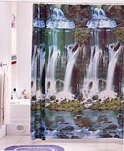 """Виниловая штора для душа с фотопринтом (плотный винил,яркий фотопринт) 180х180 см """"Водопад"""""""