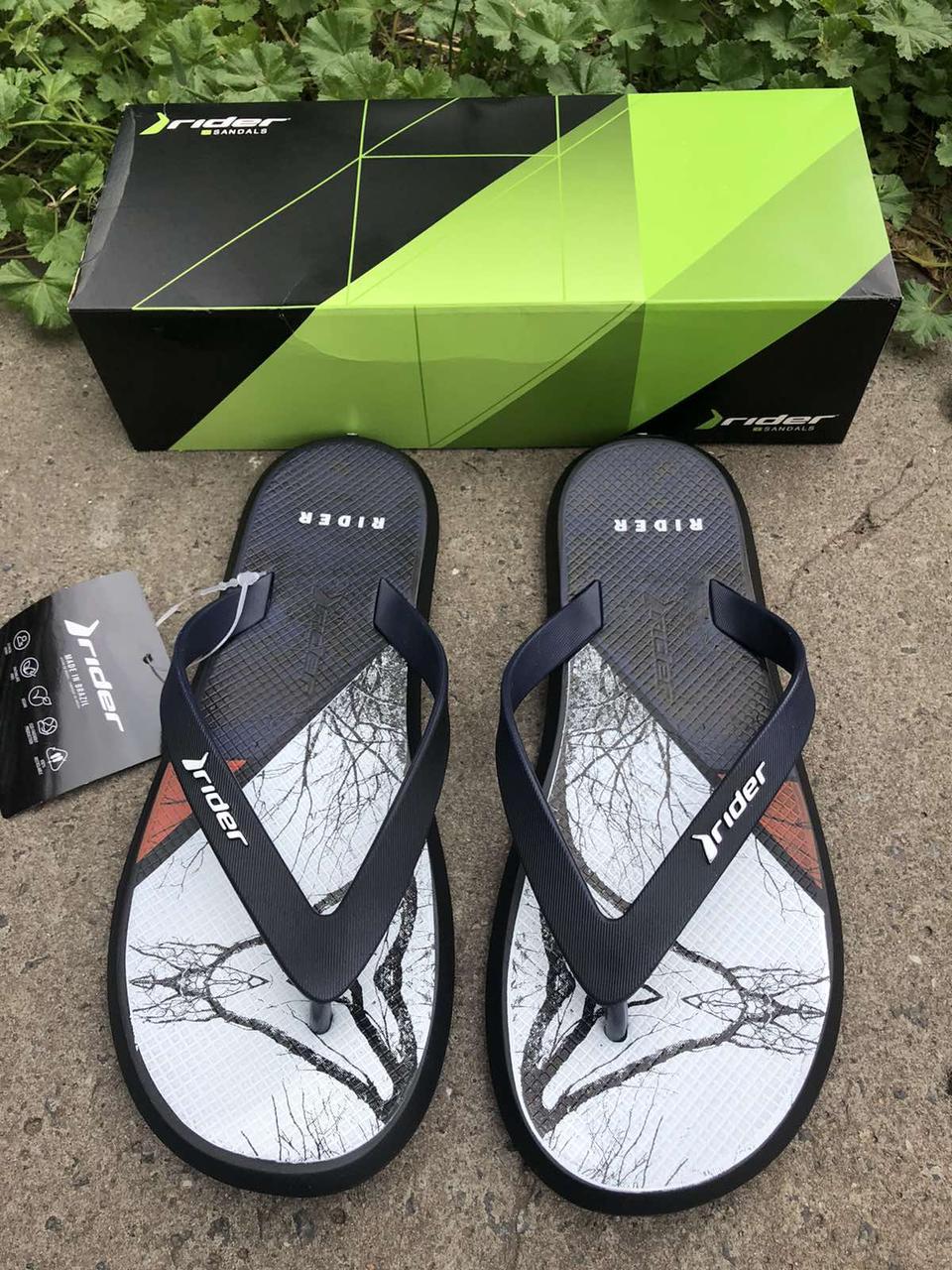 Мужские вьетнамки, пляжная обувь Rider Бразилия черные с синим
