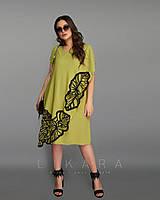 Летнее платье трапеция с вышивкой БАТАЛ 50-62 р-ры в расцветках 4344 гороховый, 52