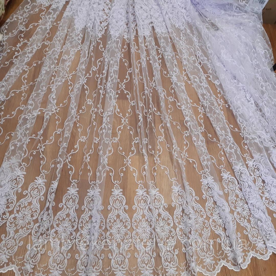 Тюль в зал, в спальню,белый цвет гардины и вышивки кордовой нитью