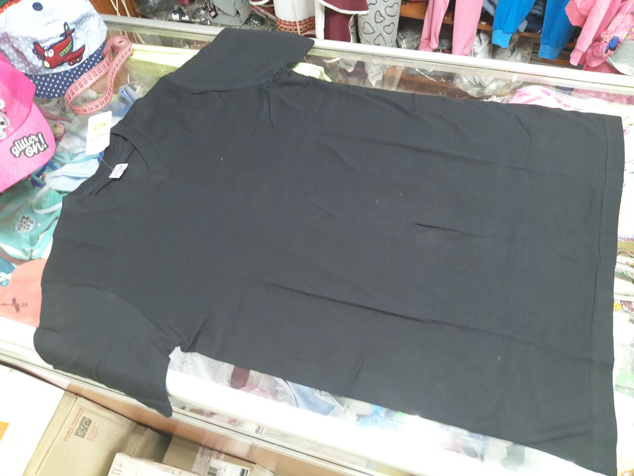 Мужская однотонная черная футболка р.46 - 56
