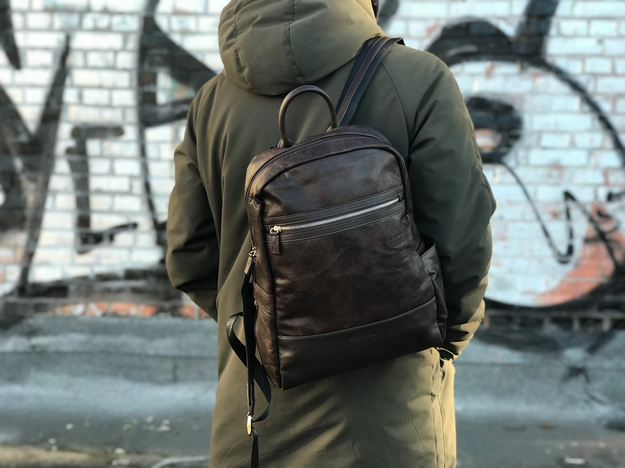 Качественный рюкзак из натуральной кожи David Jones Коричневый