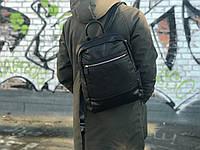 Качественный рюкзак из натуральной кожи David Jones Черный