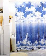 """Виниловая штора для душа с фотопринтом (плотный винил,яркий фотопринт) 180х180 см """"Дельфины"""""""