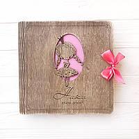 Детский фотоальбом из дерева для девочки