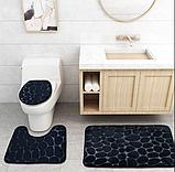 Комплект 2 плюшевих килимка «Галька» 50×80 см чорний, фото 7