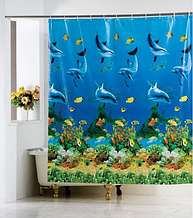 """Виниловая штора для душа с фотопринтом (плотный винил,яркий фотопринт) 180х180 см """"Водный мир,дельфины"""""""