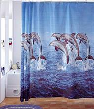 """Виниловая штора для душа с фотопчатью (плотный винил,яркий фотопринт) 180х180 см """"Дельфины"""""""
