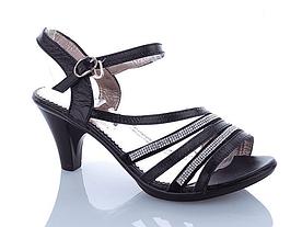 Босоножки женские кожаные на каблуке черные со стразами