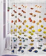 Прозрачная виниловая штора для душа с фотопринтом (плотный винил,яркий фотопринт рыбки) 180х180 см