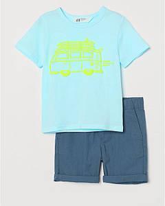 Костюм для мальчика футболка и шорты Транспорт H&M р.98, 110см