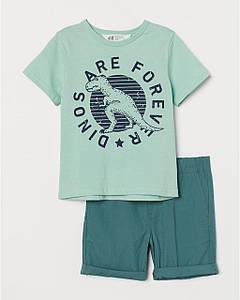 """Костюм для мальчика футболка и шорты """"Динозавр"""" H&M р.104, 116, 134см"""