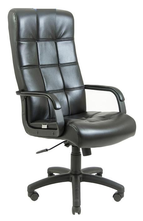 Кресло Вирджиния Пластик механизм Tilt подлокотники с мягкими накладками, экокожа Титан Черный (Richman ТМ)