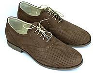 Взуття великих розмірів чоловіча літні м'які коричневі туфлі нубук Rosso Avangard BS Romano Brown NUB Perf, фото 1