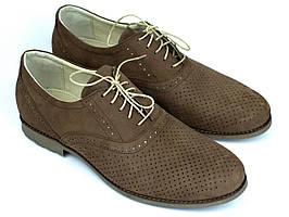 Взуття великих розмірів чоловіча літні м'які коричневі туфлі нубук Rosso Avangard BS Romano Brown NUB Perf