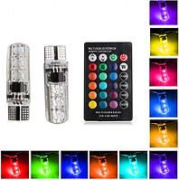 LED лампы на пульте габаритные огни Страбоскопы ДХО Лампочки RGB T10
