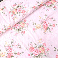 Ткань сатин розы в букетах на светло-розовом, ш. 160 см, фото 1