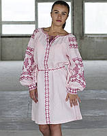 """Вишита сукня на льоні розовий  """"Подоляночка"""" розміри в наявності"""