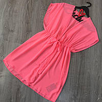 Женская розовая пляжная накидка парео короткая, пляжная туника