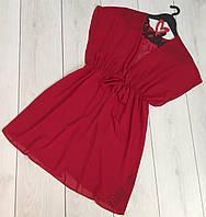 Женская красная пляжная накидка парео короткая, пляжная туника