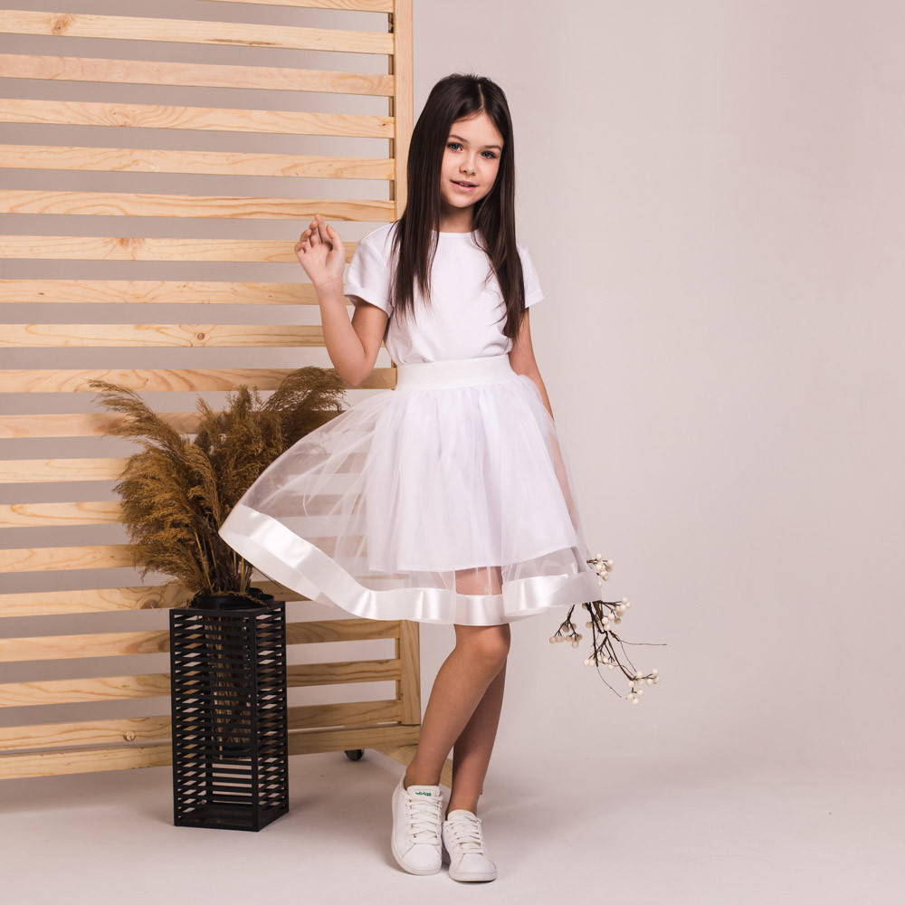 Детская пышная юбка Маричка белого цвета