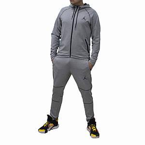 Мужской светлый серый трикотажный костюм Jordan с прямой курткой и штанам (Реплика)