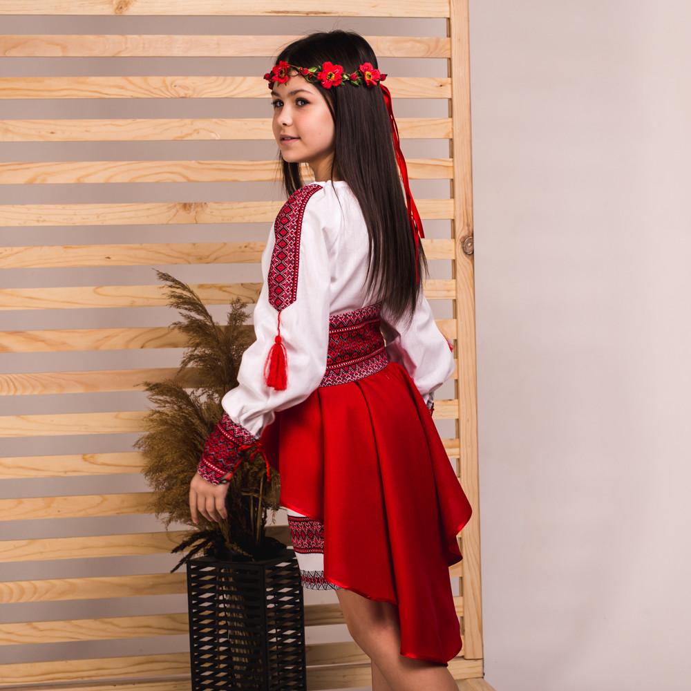 Красный костюмчик с баской для девочки Украиночка