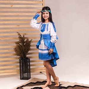 Голубой костюмчик с баской для девочки Украиночка