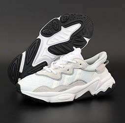 Женские кроссовки Adidas Ozweego White Black рефлективные. Фото в живую. Реплика
