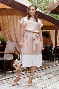 Бежевое платье плиссе с поясом 44-50 размер 2020