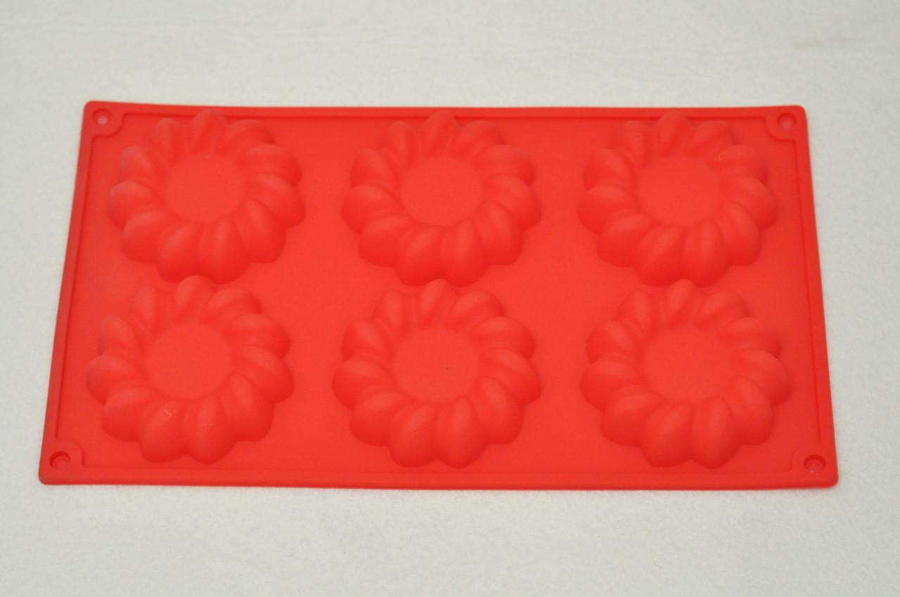Форма силиконовая для выпечки Цветы-3 29х17х2 см