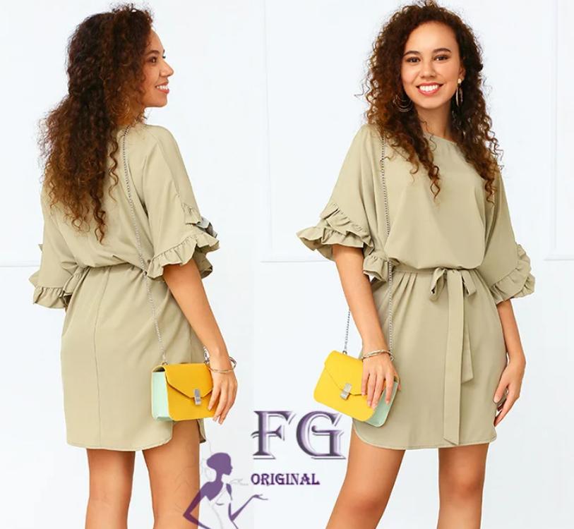 Літнє жіноче плаття з воланами на рукаві по коліно
