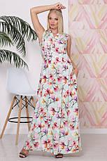 Легкое женское платье в пол, Батал, в расцветках, р.50-58, фото 2