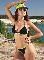 Раздельный треугольный женский купальник на завязках (1391.4211-4189-4191-4204) Черный с зелеными завязками