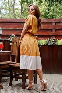 Горчичное платье плиссе c поясом миди  с 44 по 50 размер 2020