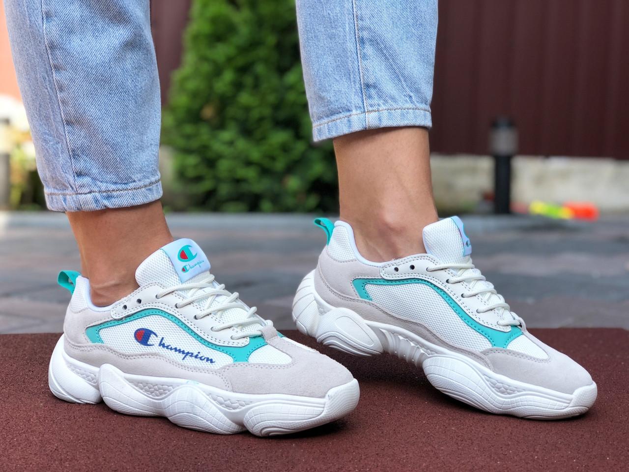 Женские кроссовки Champion (серо-белые с мятным) 9570