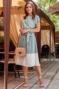 Мятное платье плиссе с поясом миди 44-50 размер 2020