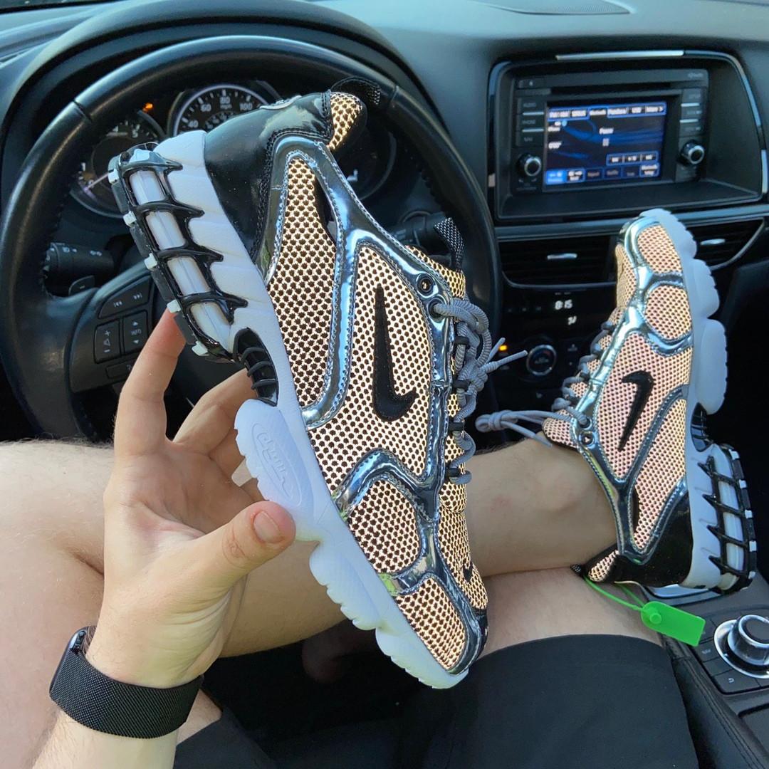 Чоловічі кросівки Nike Air Zoom Spiridon Cage 2 Stussy Pure Platinum Рефлективні (сріблясті) C-1928