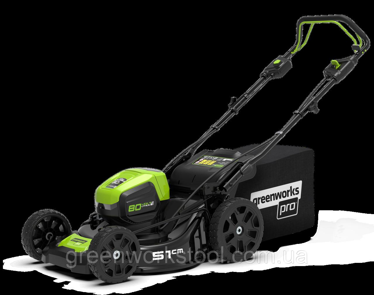 Мощная самоходная аккумуляторная  газонокосилка GreenWorks GD80LM51SP Pro 80V 51 см бесщёточная без АКБ и ЗУ