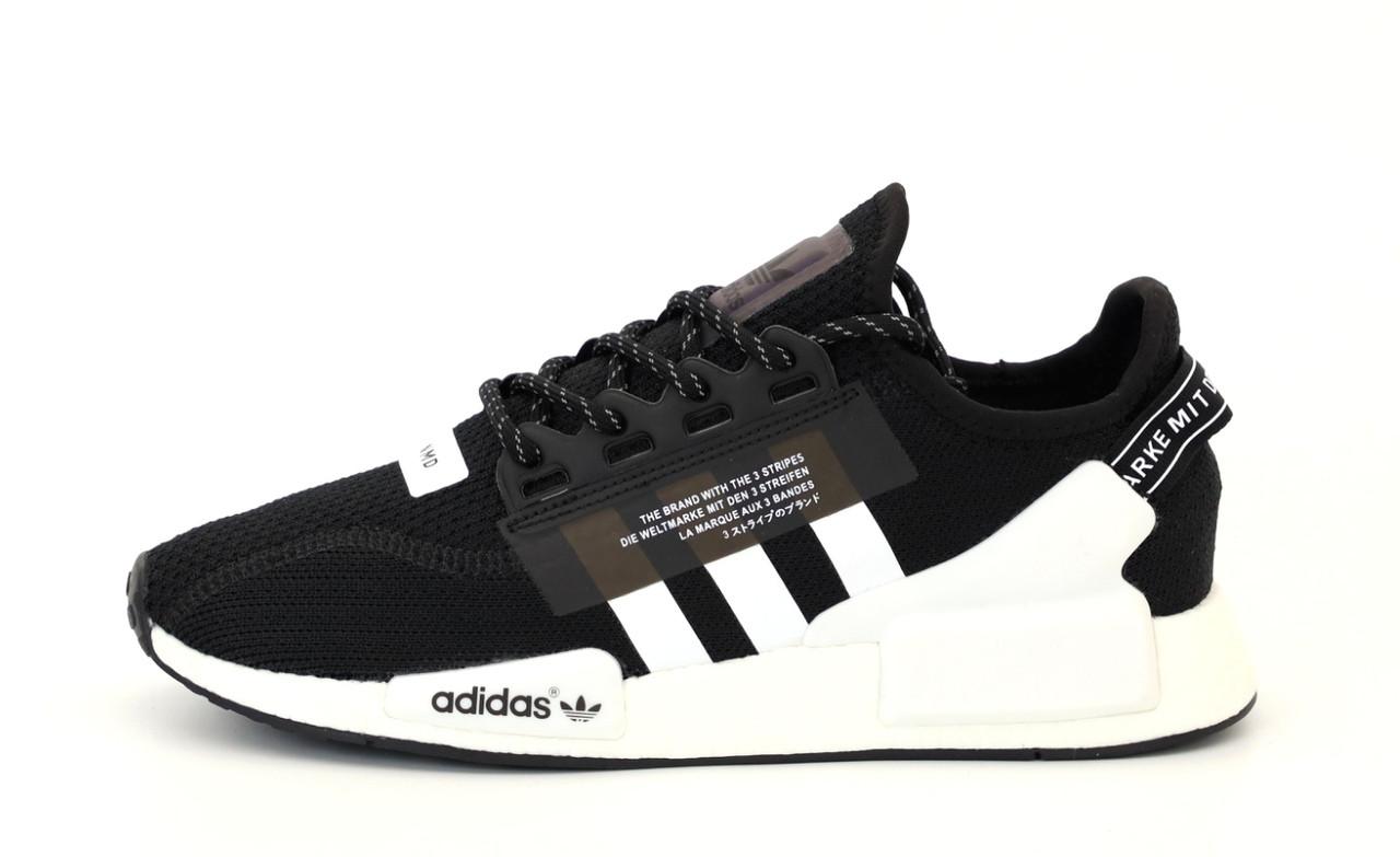 Мужские кроссовки Adidas NMD R1 V2 Полный рефлектив (черно-белые) 12174